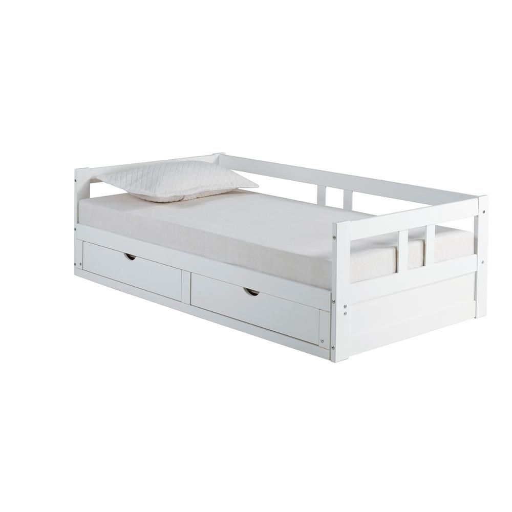 357 Alaterre Furniture Melody White Day Bed With Storage Daybed With Storage Daybed With Trundle Bed Storage