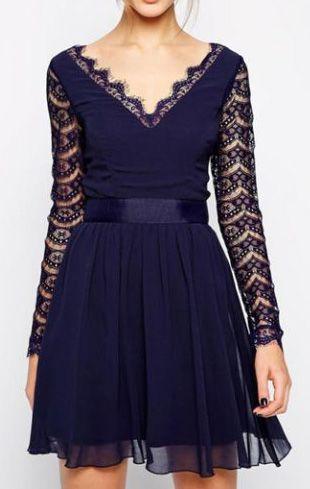 Enchanting Hollow Design Long Sleeve Mini Dress Navy