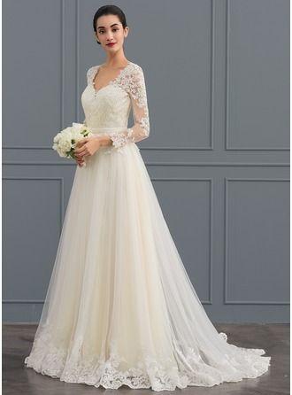 Ballkleid mit V-Ausschnitt Sweep Train Zipper Up Covered Knopfärmel Long Sleeves Churc …   – Wedding