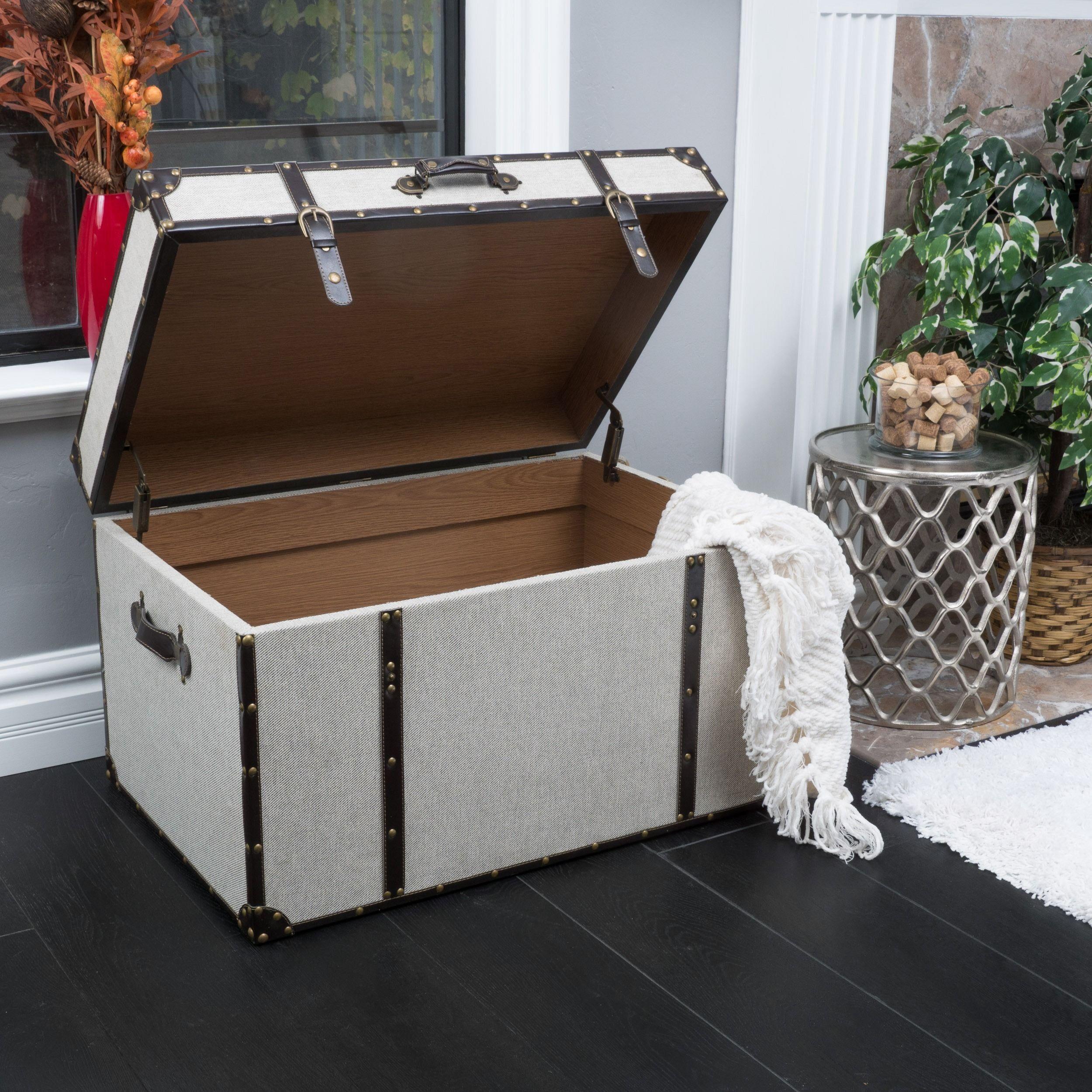Fontana Brown Leather Trim Beige Upholstered Storage Trunk