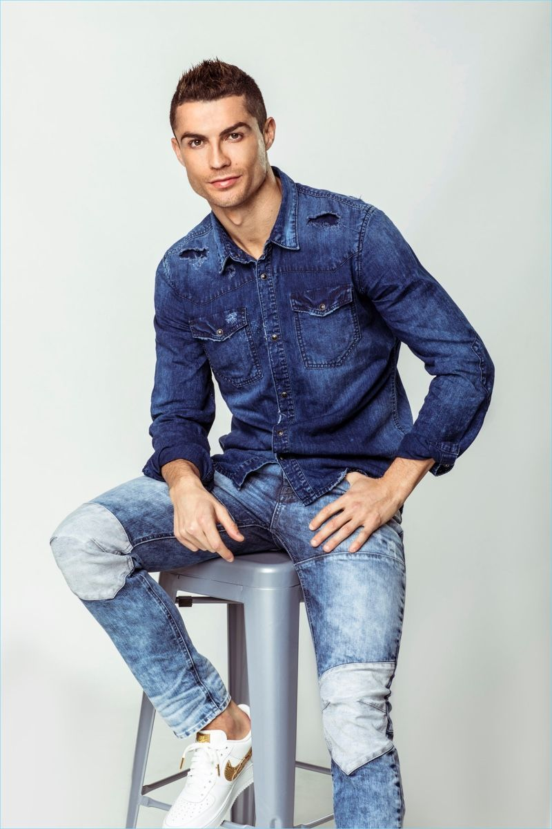760b55d70bd2 Sporting denim on denim, Cristiano Ronaldo stars in CR7 Denim s  spring-summer 2018 campaign.  MensFashionDenim