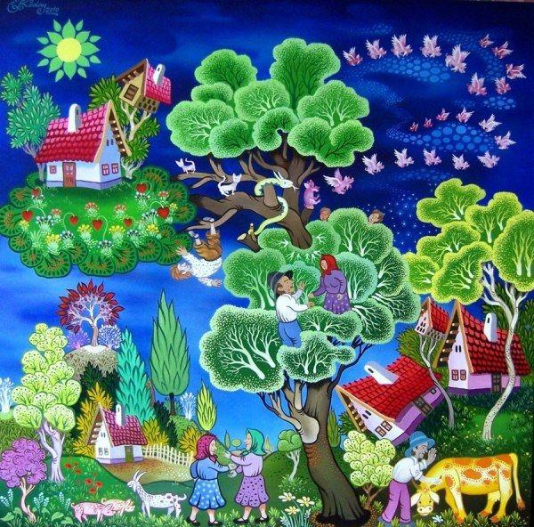 Венгерский хуудожник Ласло Кодай (Laszlo Koday) создает яркие живописные картины. В его рисунках нет места для уныния и скуки. Сельская жизнь наполнена трудами и хлопотами. И ничего, что козы пасутся на деревьях, а часть домов разместилось на облаках. Зато все наполнено красками и светом. Каждая картина - это история из сельской жизни, настоящая или выдуманная.…
