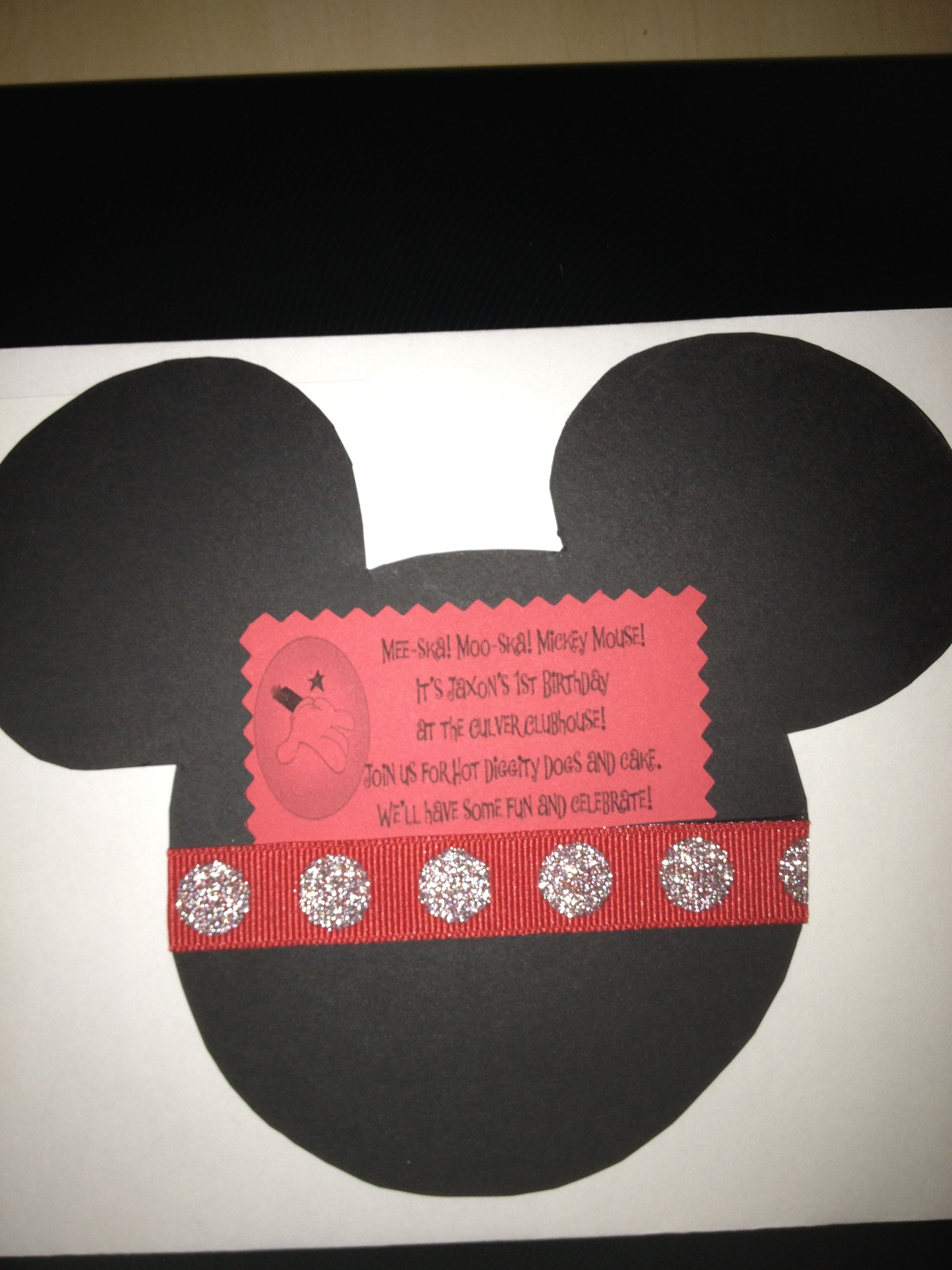 My Grandson Jax S 1st Birthday Mickey Mouse Themed Invitation