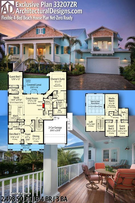 Architectural designs house plan zr comes to life in florida beds baths sq ft ready when you are where do want build also flexible energy efficient beach rh pinterest