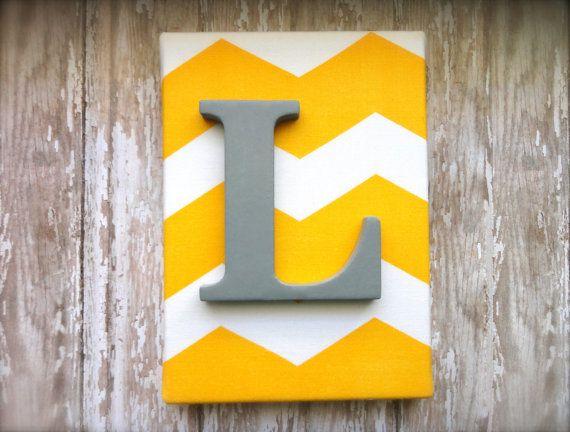 Nuresry Decor or Child\'s Room 5 x 7 Yellow Chevron Monogram wall ...