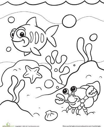 Under the Sea Coloring Page | Colorear, El mar y Dibujo