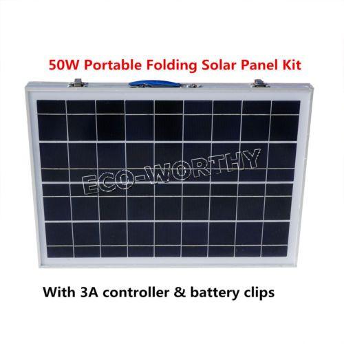 50w Poly Portable Folding Solar Panel Kit 12v Rv Camping Home Lighting System Solar Solar Panel Kits Solar Panels