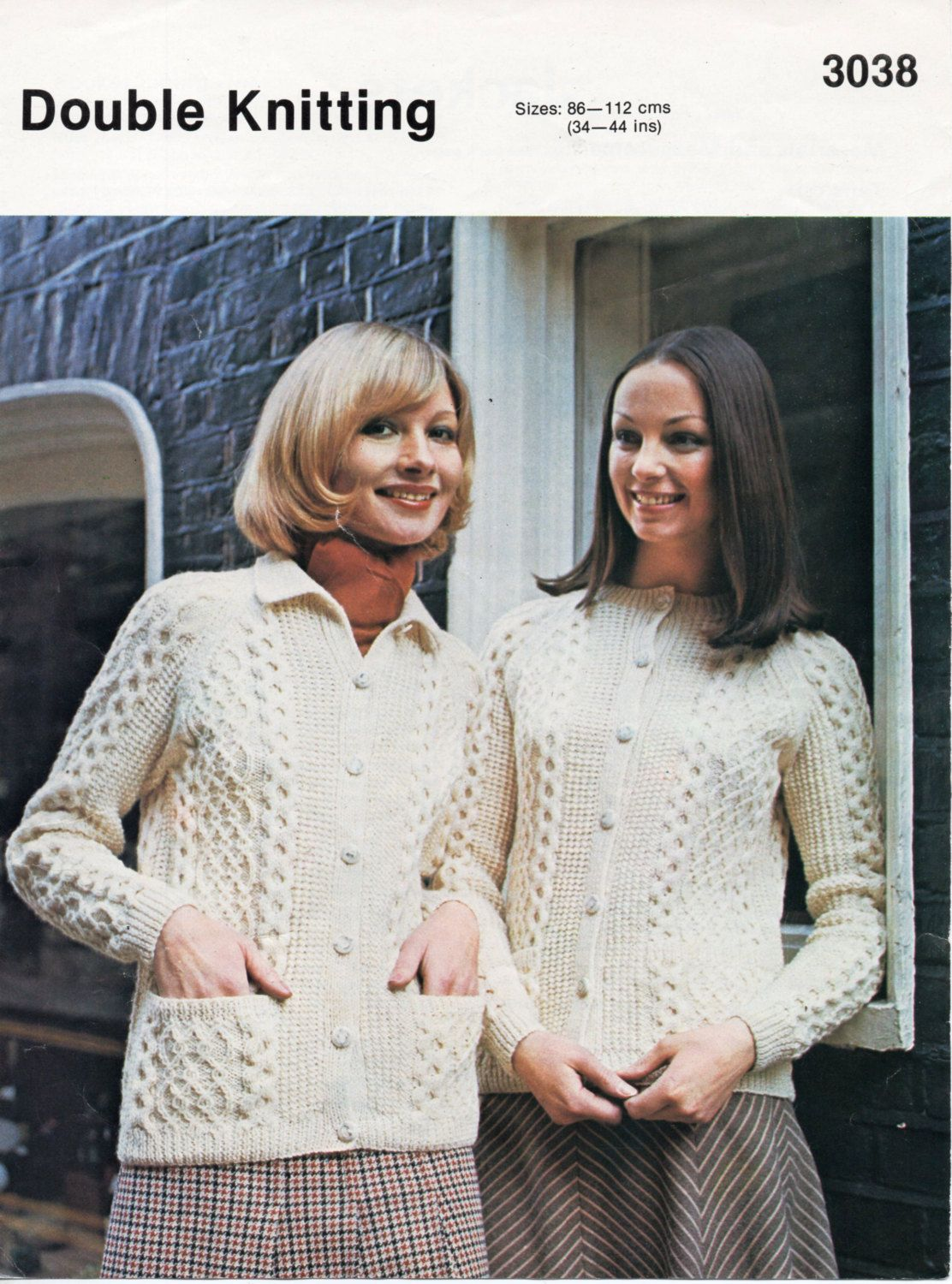 b667fe1b97ff womens cable cardigans knitting pattern aran style jacket with collar 1970s  34-44 inch DK womens knitting pattern pdf instant download by Hobohooks on  Etsy