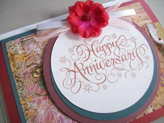 Happy anniversary card unisex red blue by silverclouddelights