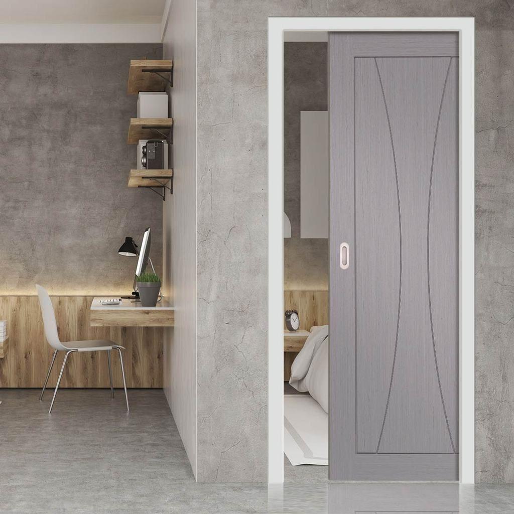 Verona Light Grey Flush Evokit Pocket Fire Door 1 2 Hour Fire Rated Prefinished In 2020 Pocket Doors Pocket Door Frame Sliding Pocket Doors