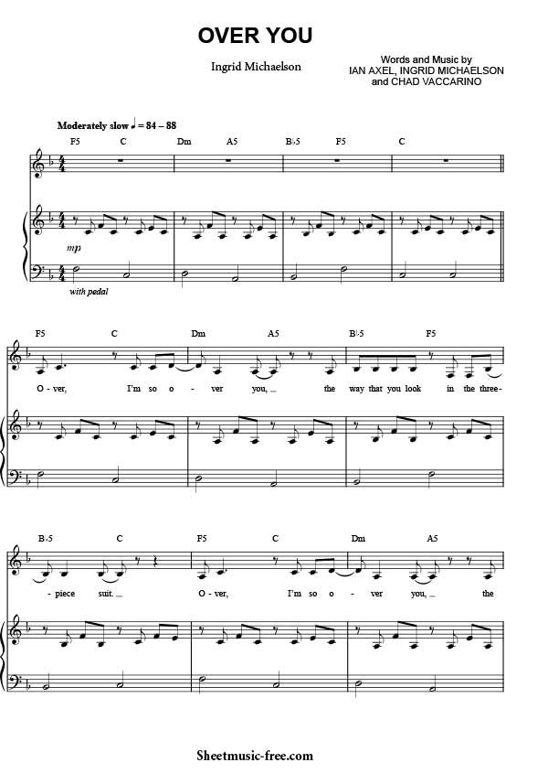 Over You Sheet Music Ingrid Michaelson Download Over You Piano ...