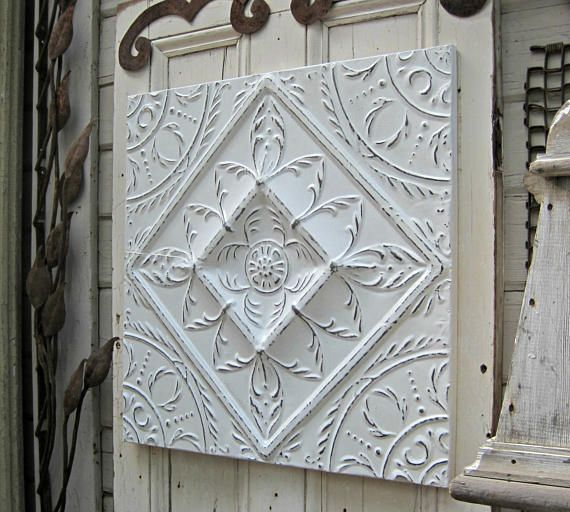 Tin Ceiling Tile Vintage Wall Art Architectural Salvage