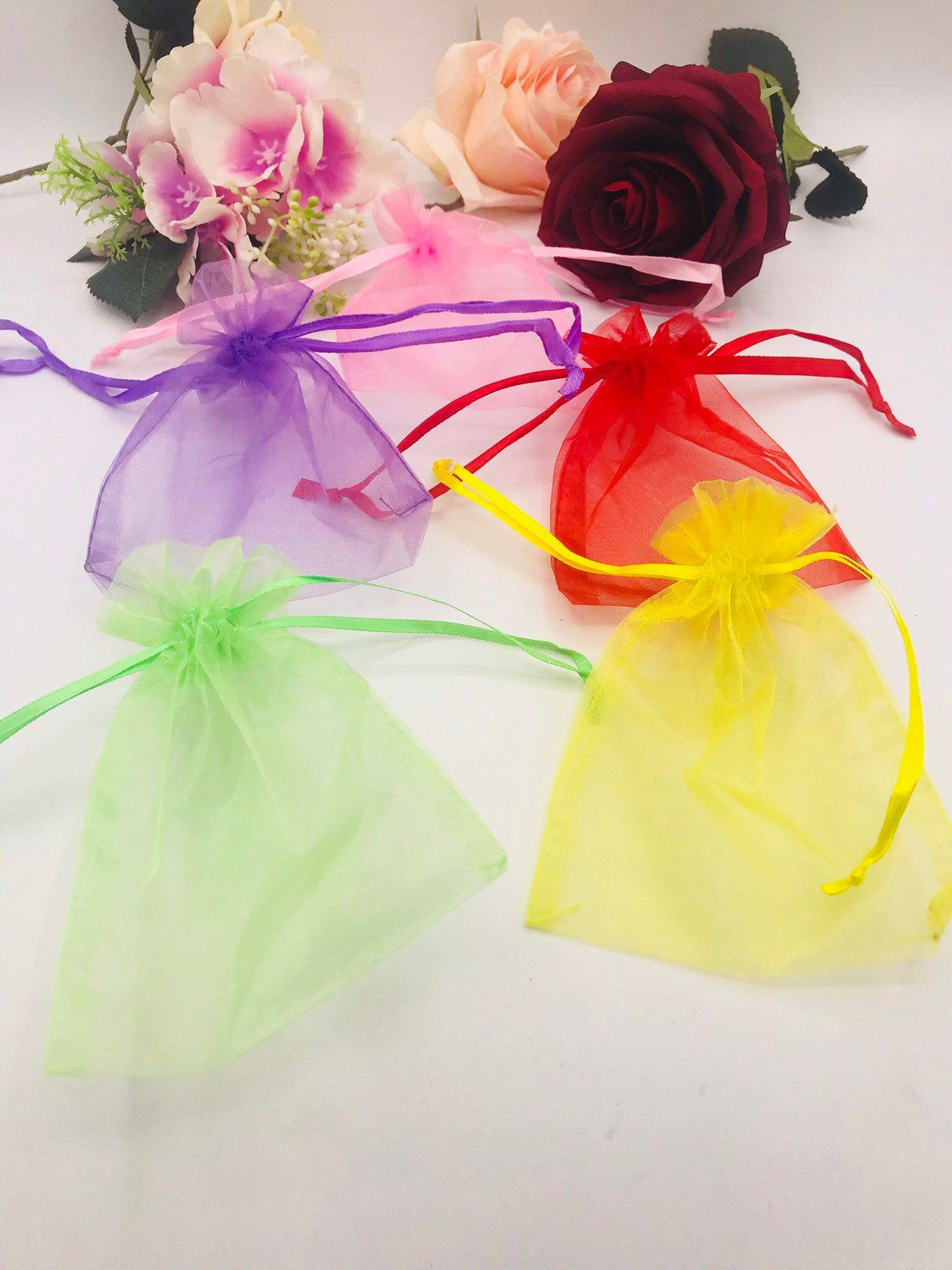 144pcs 4x5Organza bags Quinceanera/Sweet sixteen favors/wedding favors drawstring bolsas de Organza jewelry bags