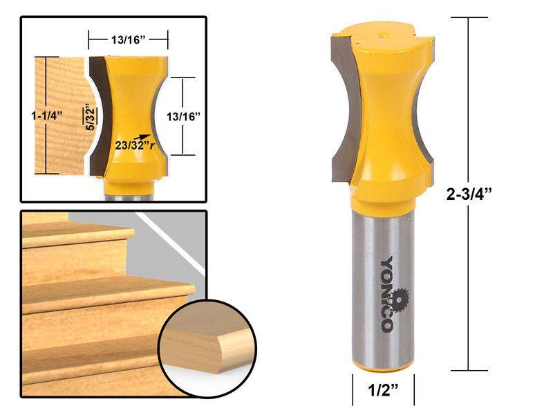 Yonico 13102 23//32-Inch Radius Convex Column//Face Molding Router Bit 1//2-Inch Shank