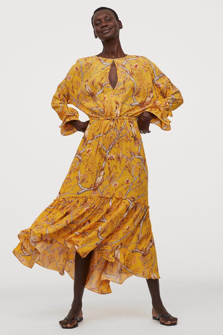 Creped Maxi Dress Dark Yellow Orchids Ladies H M Us Maxi Dress Dresses Johanna Ortiz [ 1152 x 768 Pixel ]