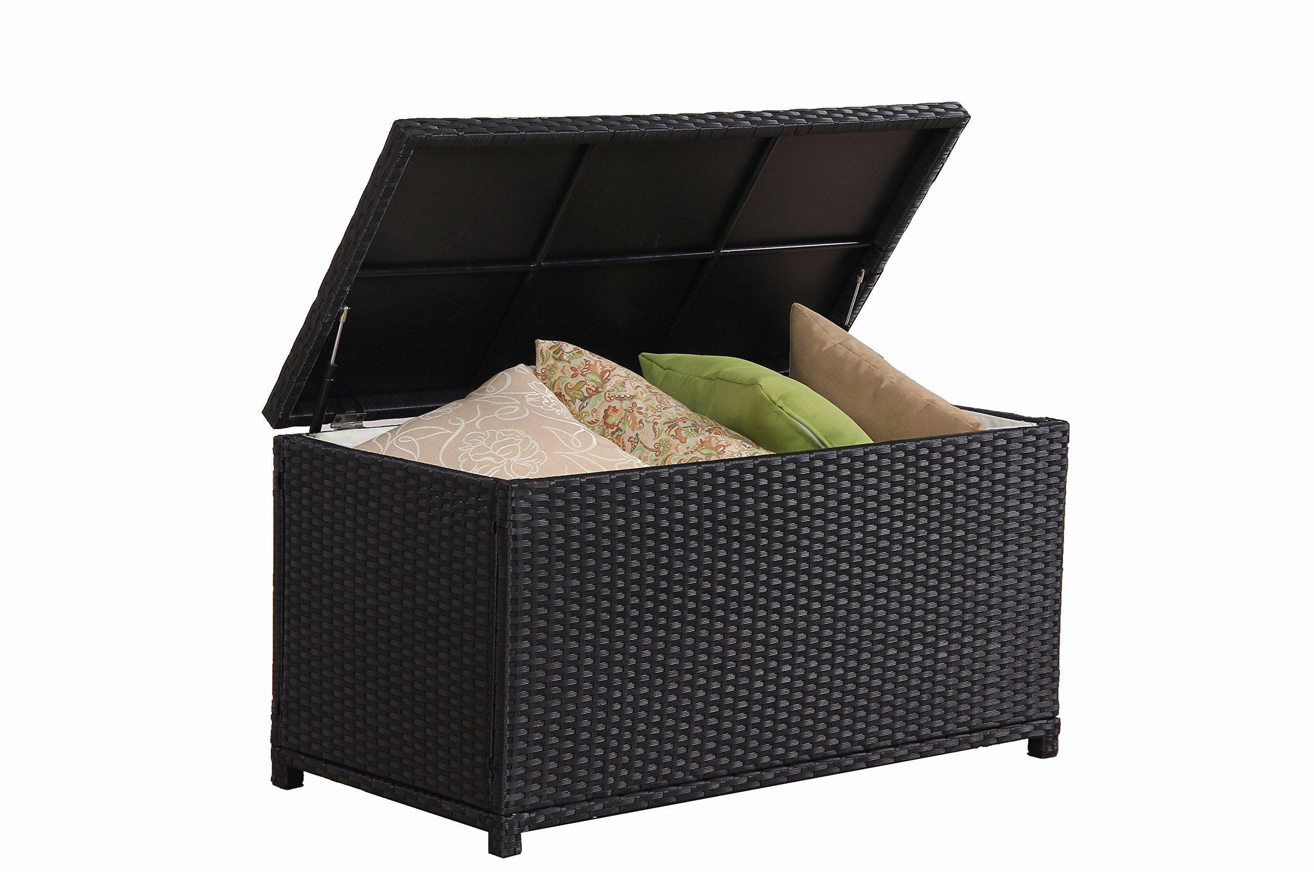 Broyerk Outdoor Patio Black Wicker Rattan Storage Cushion Bin Deck