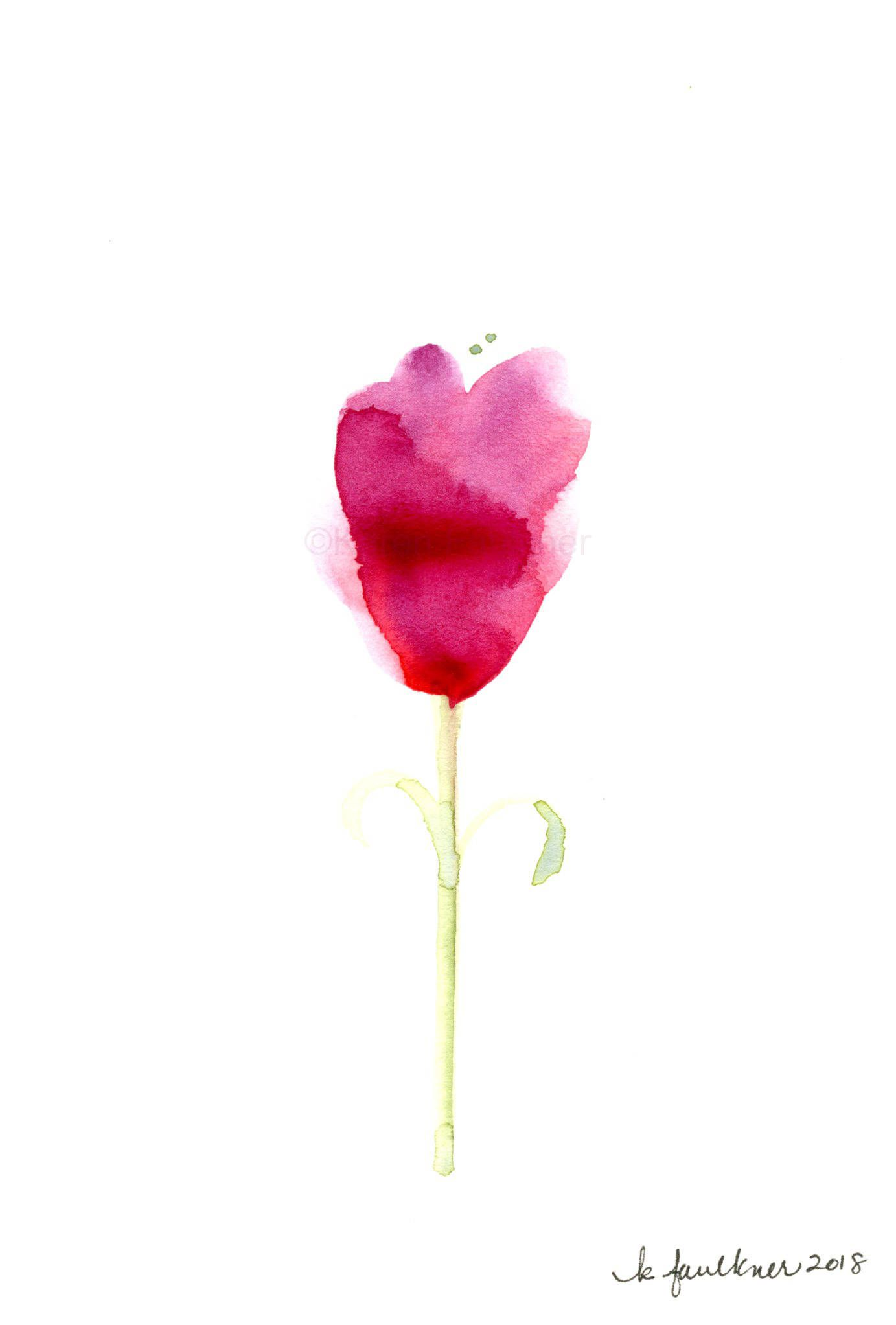 Original Watercolor Painting Of A Simple Single Flower Bloom I By KarenFaulknerStudio