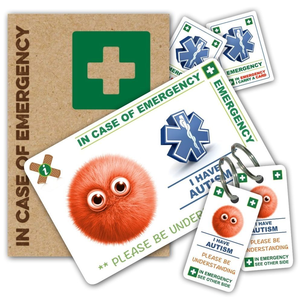 ICE IN CASE OF EMERGENCY AUTISM ALERT PACK 1 CARD 2 KEYRINGS STICKERS FREE P&P