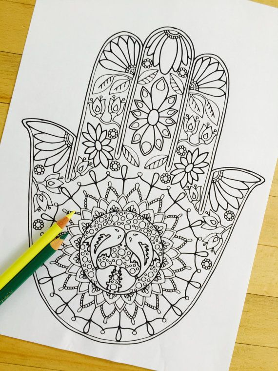 Hamsa Water - Hand Drawn Adult Coloring Page Print Adult coloring - new coloring pages for eye doctor