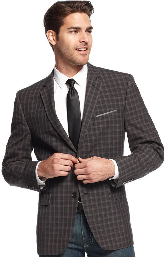 Red Sport Coat Charcoal Plaid Slim Fit | Coats Plaid and Blazers