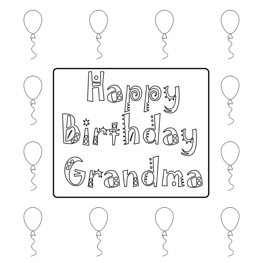 happy birthday grandma coloring pages printable (