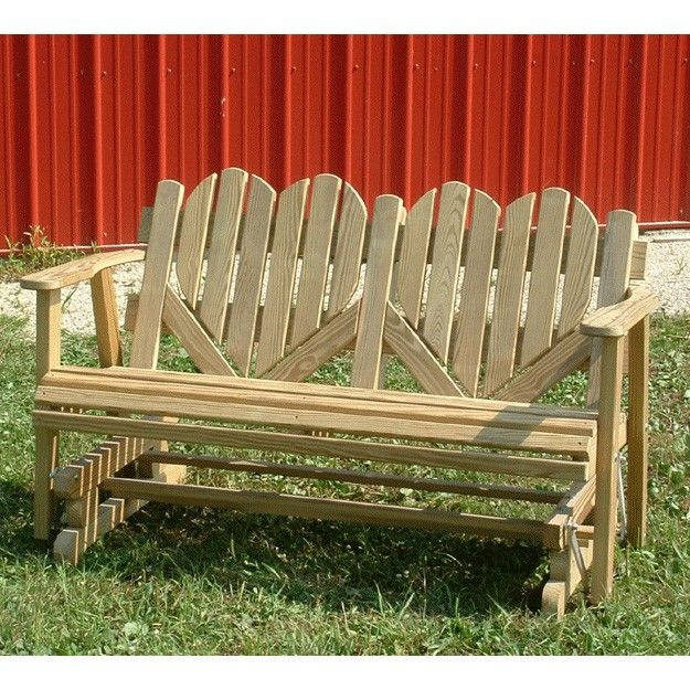 Amish Outdoor Furniture Heart Back 4ft. Outdoor Glider In