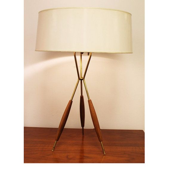 Mid century modern lightolier walnut 3 leg table lamp original shade mid century modern lightolier walnut 3 leg table lamp original shade aloadofball Image collections