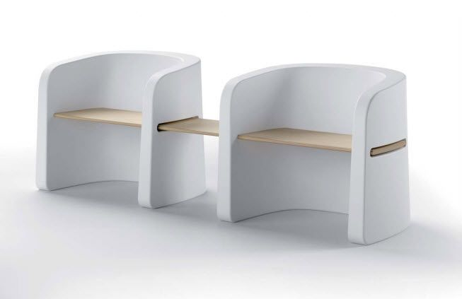 Contemporary garden bench (with backrest)