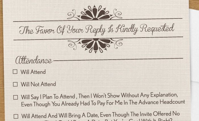 A Wedding Rsvp Card That Covers Every Horrible Wedding Guest That