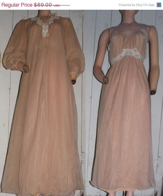 Snow Sale Vintage 60s Chiffon Lace Nylon Nude Beige by clovas, $58.65