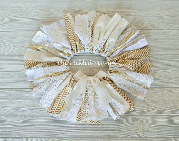 Gold Ivory White Vintage Shabby Chic Chevron by ThePickledPeanut