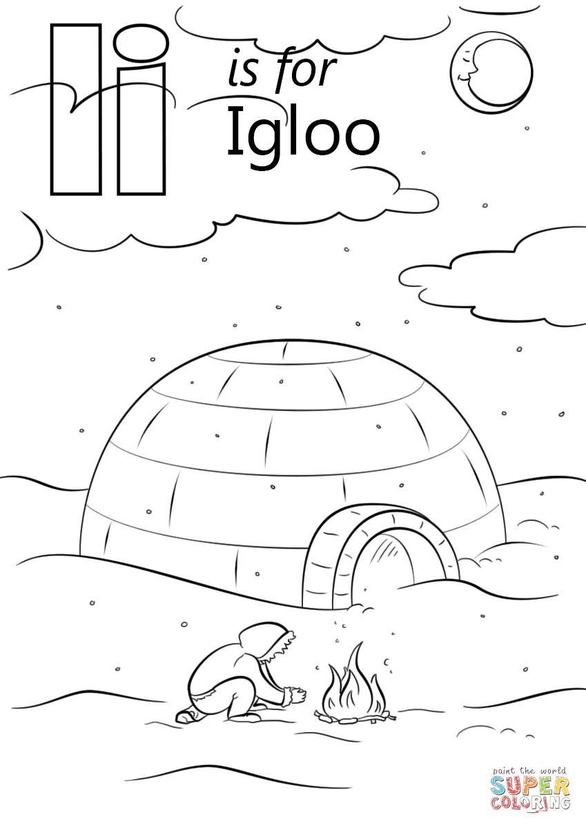 Letter I is for Igloo coloring page from Letter I category. Select ...
