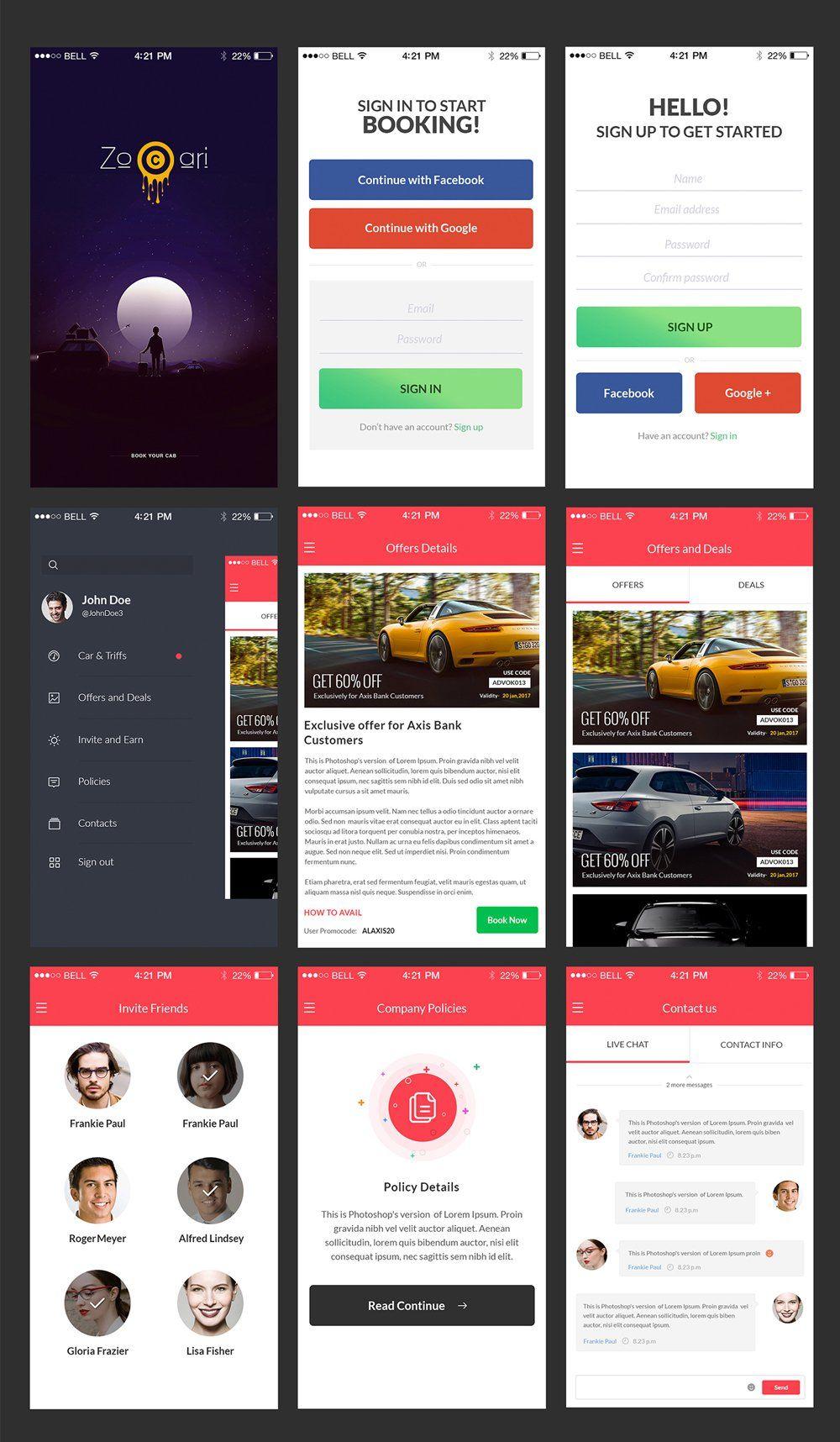 Zocari Car Rent Mobile App UI PSD | APP Design | Mobile app