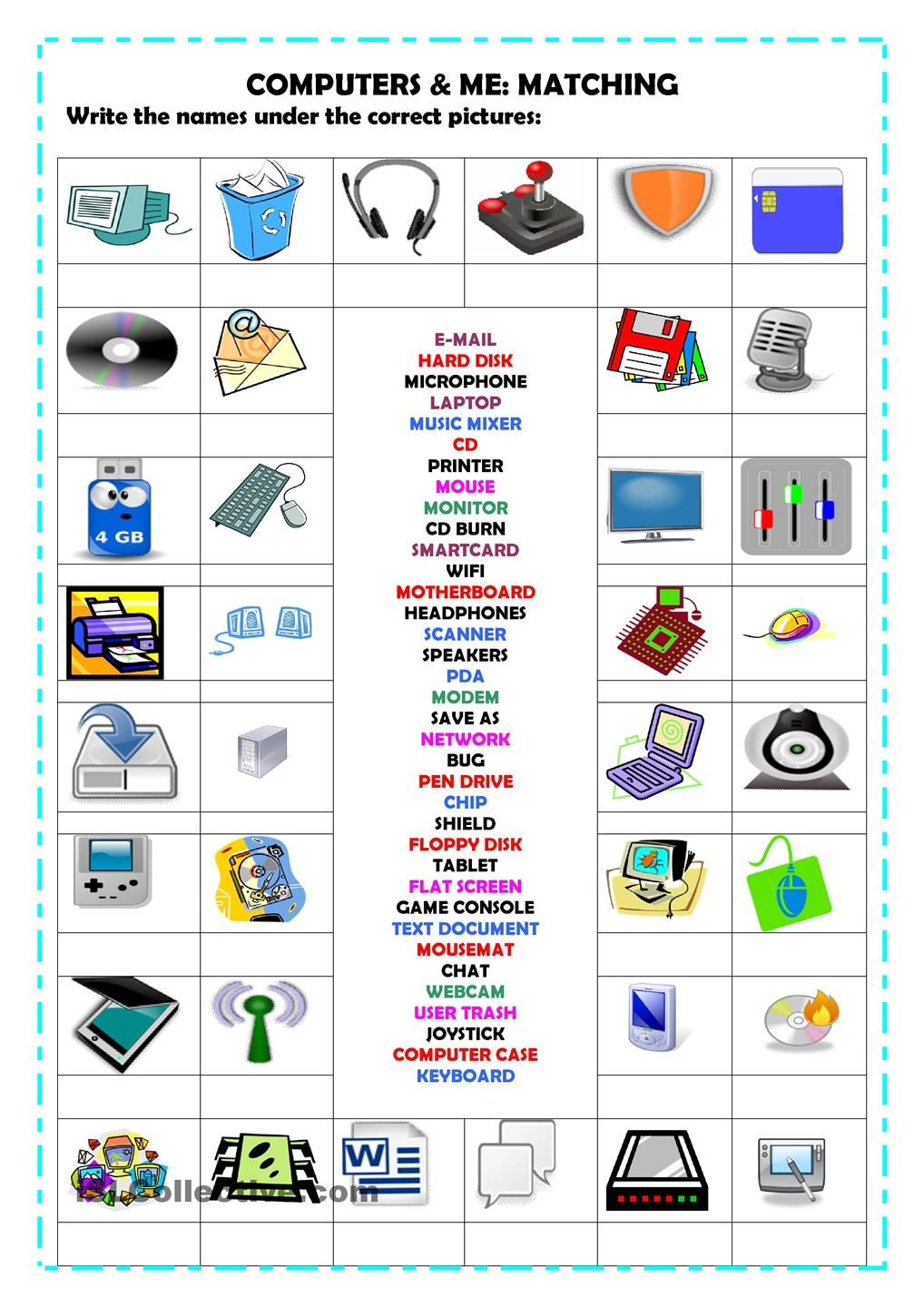 Free Worksheet Computer Technology Worksheets smart way to be cyber safe esmart pinterest a matching activity with 36 words revise vocabulary on computers i hope its useful have nice day gloria technology worksh