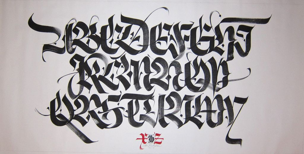 Blackletter Alphabet Calligraphy Calligraphy Letters
