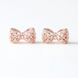 Cz Filligree Bow Stud Earrings Rose Gold From Kellinsilver