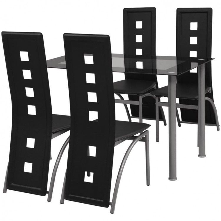 Details About Dining Table Chair Set Of 5 Black Tempered Glass