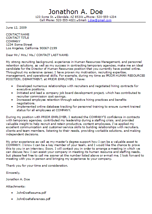 Awesome Cover Letter For Human Resources Position Career Rush Blog Manager Examples