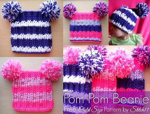 Ravelry: Child Size Pom Pom Beanie pattern by Corina Gray | czapki ...