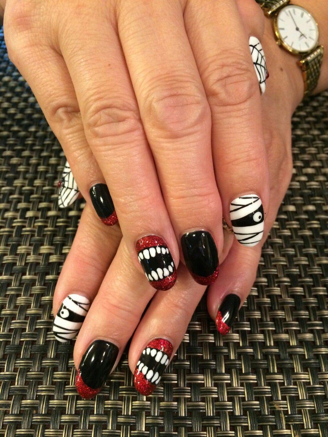 Halloween Nails Handpainted Using Kokoist Nail Gel Halloween Nails Gel Nail Art Gel Nails
