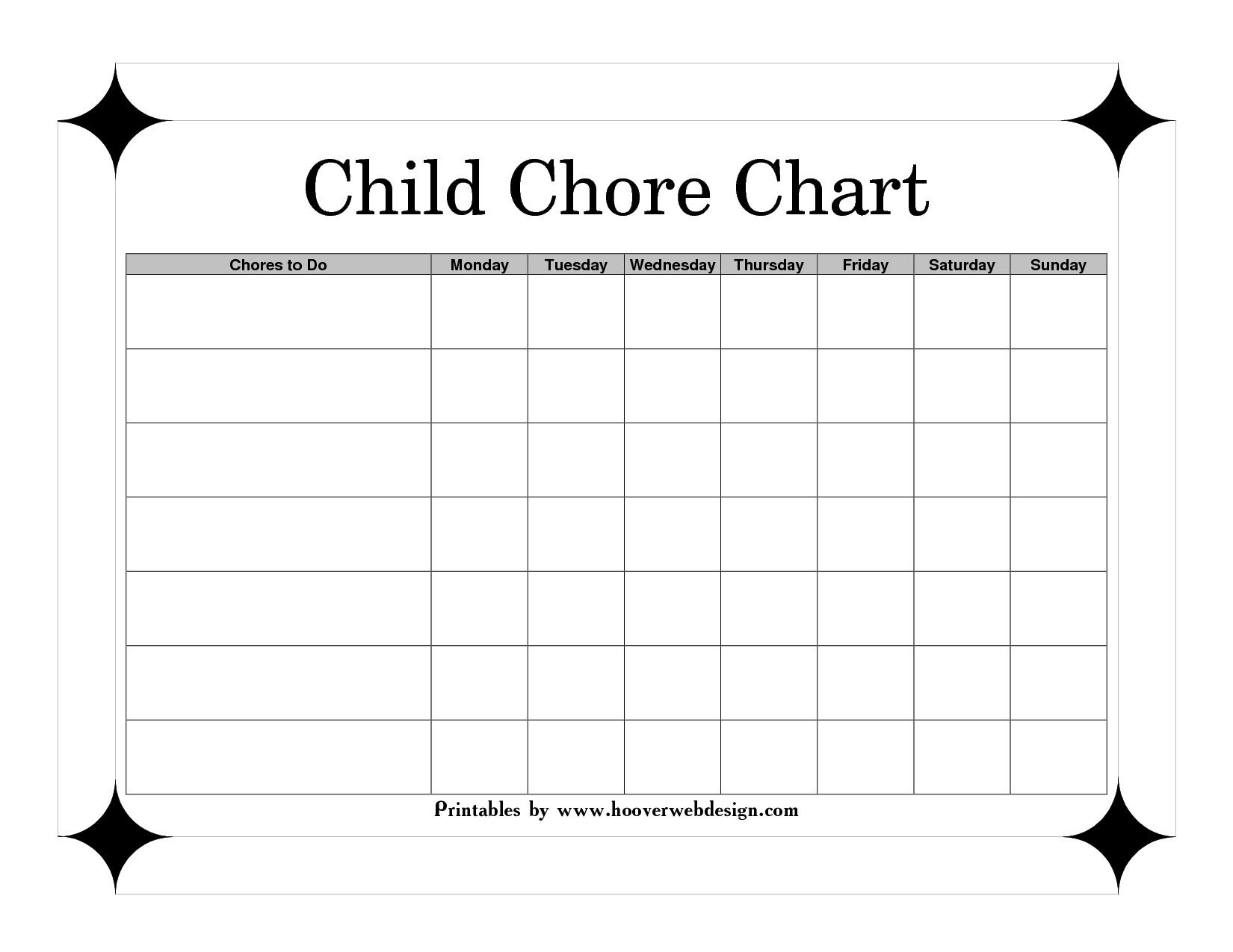 Printable Chore Charts For Children