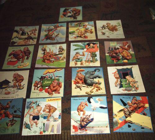 17-Vintage-Lawson-Wood-Monkey-Print-Litho-Pictures-USA