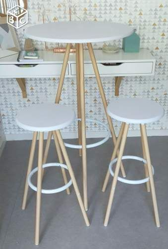 Table Haute Bar Design Scandinave 2 Tabourets Restaurant
