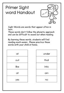 Primer Sight Words Worksheets Printables   Reading   Pinterest