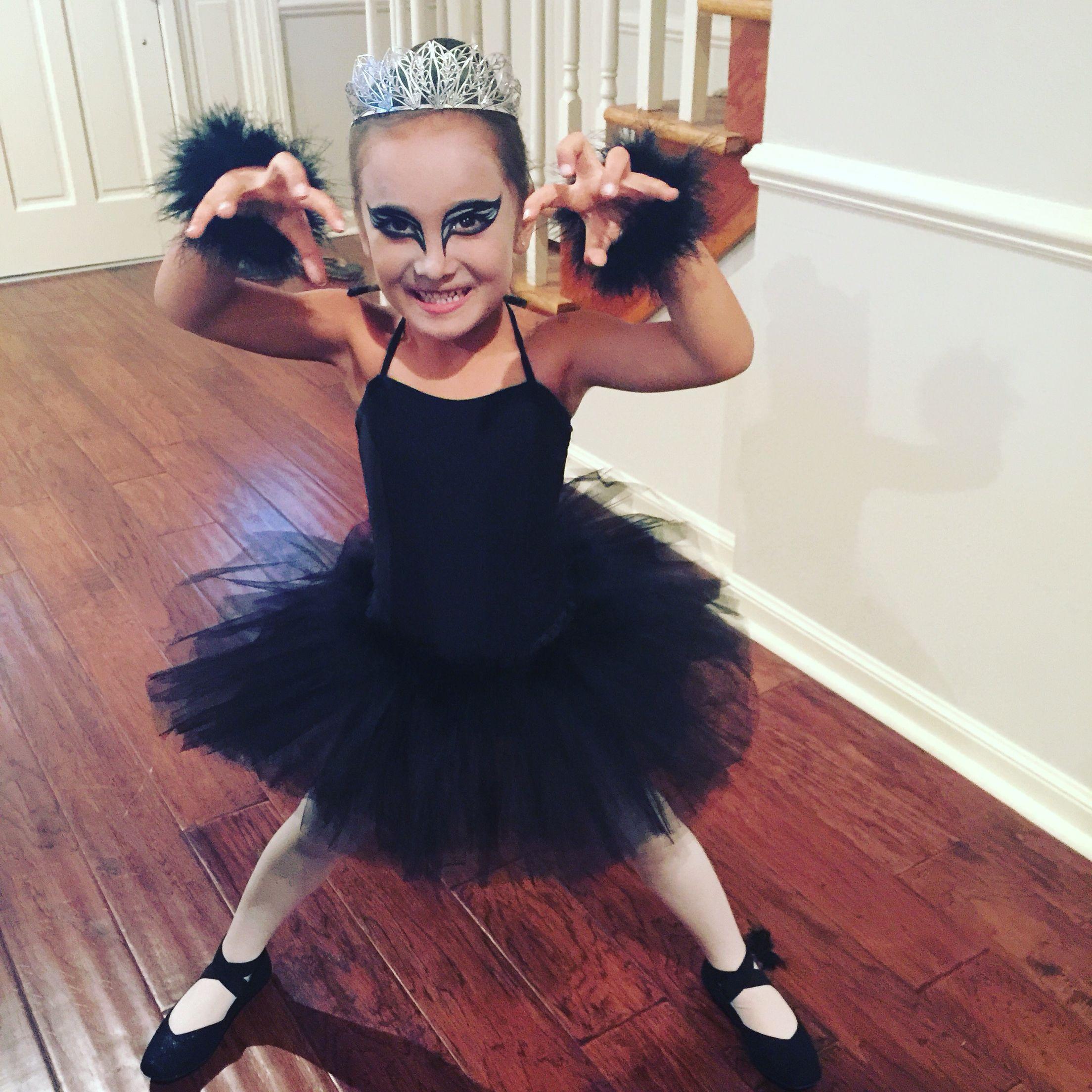 b1ea568a2 Black swan kids Halloween costume and makeup.