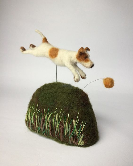Needle felted running Jack Russell sculpture: