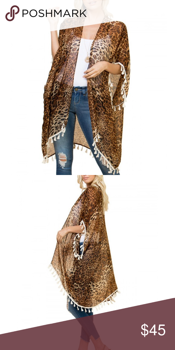 One Size Fits Most Leopard Print Sheer Kimono