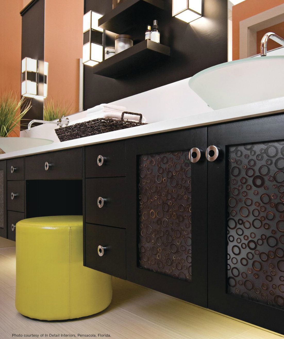 Modern Circle Knobs look great in this Contemporary Bathroom and add the perfect dash of retro flair!
