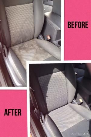 Clean Water Spots And Stains From Your Cloth Car Seats Just Add Equal Parts Of Club Soda White Vinegar And Blue Dawn D Cleaning Hacks Car Seats Car Cleaning