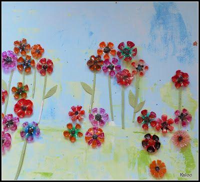 Fleurs de printemps en mat riel recycl art plastique - Fleurs printemps maternelle ...